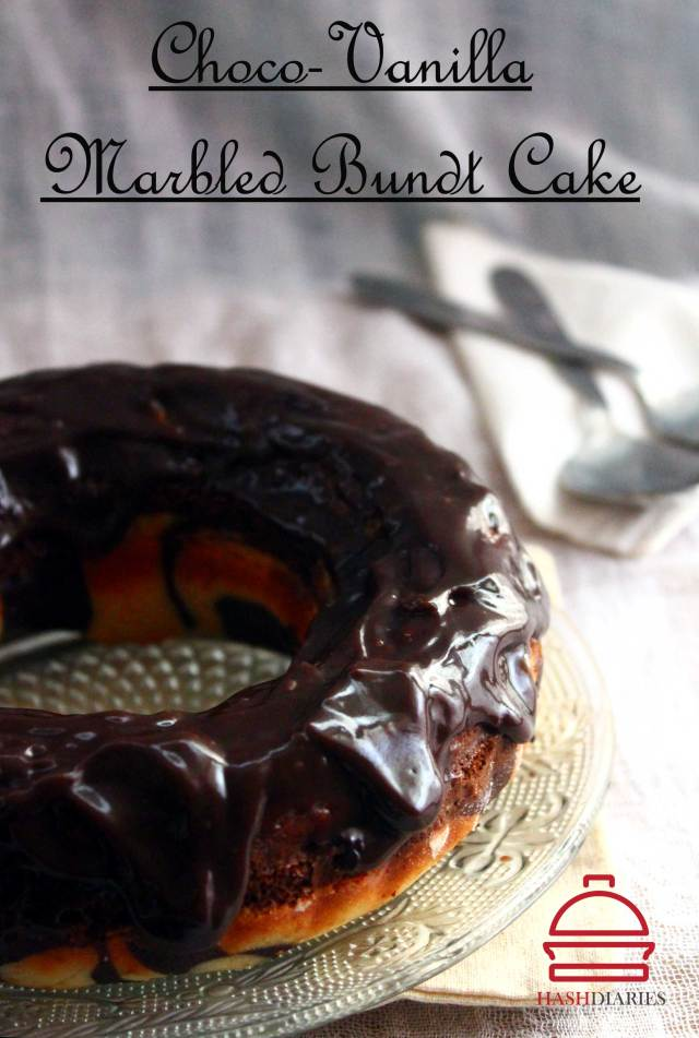 Chocolate Vanilla Swirl Cake with Chocolate Ganache