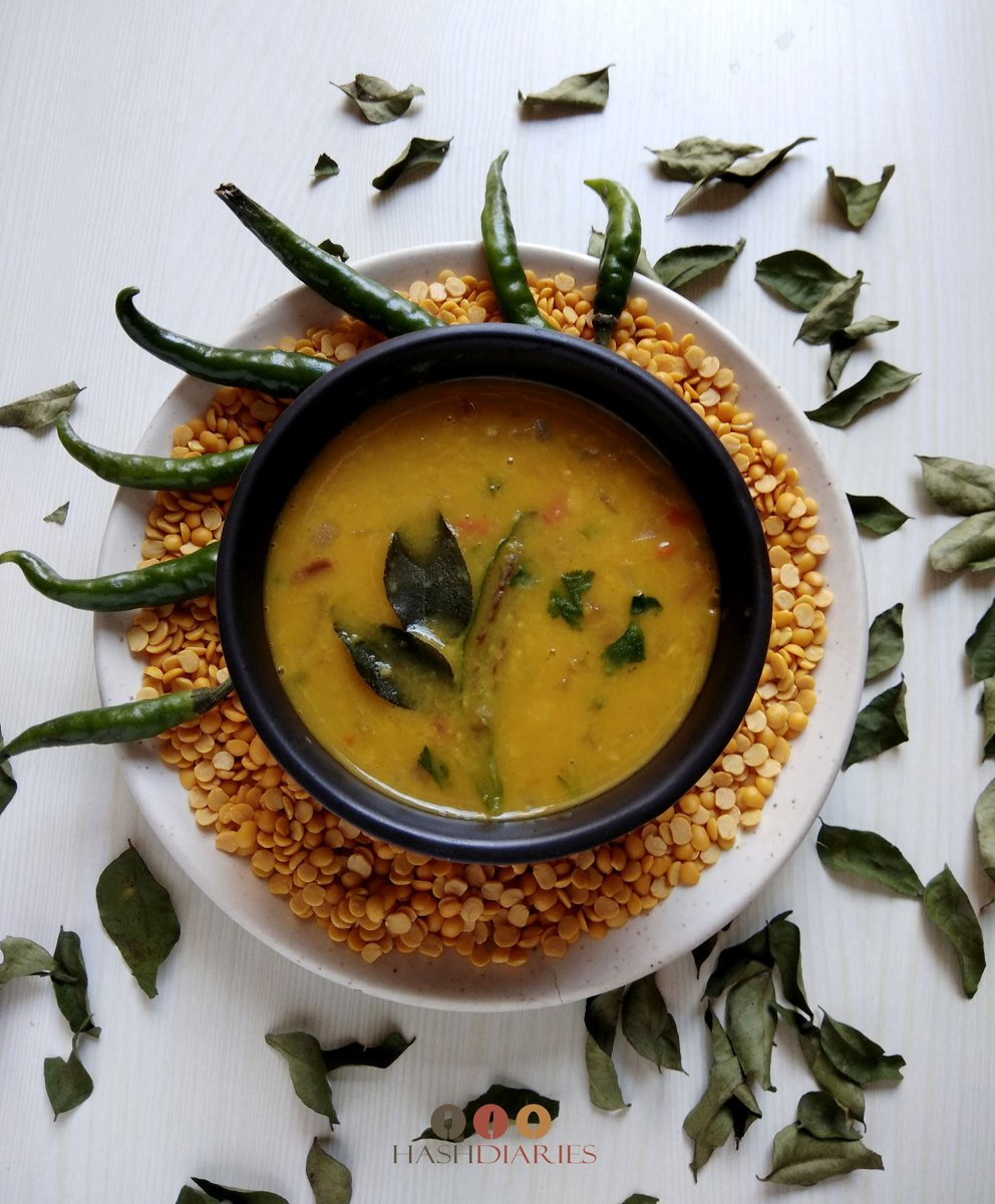 Arhar Dal with Onion-Tomato Spice Mix | Spicy Bengali Split Pea Dal Recipe
