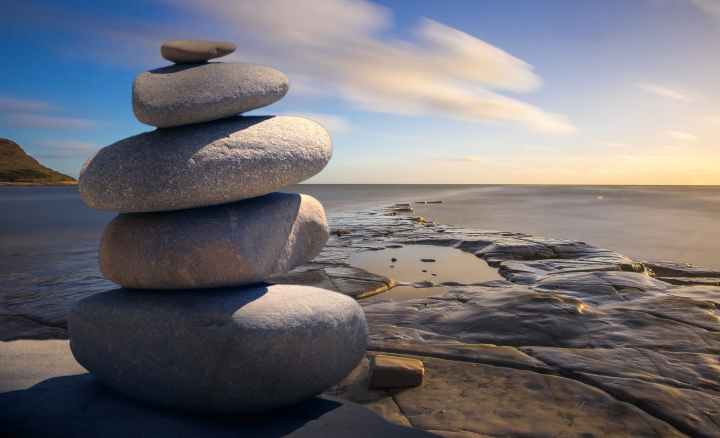 background balance beach boulder. Mindfulness can help you cope with an anxiety disorder.