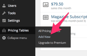 Adding a New Pricing Table