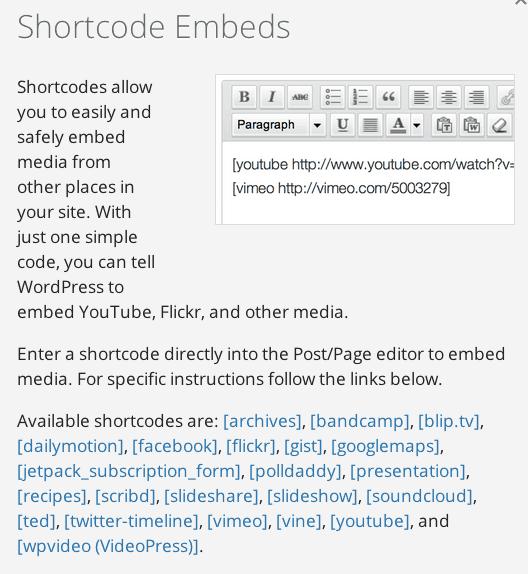 Jetpack Shortcode Embed Description