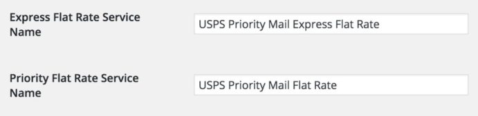 WooCommerc USPS Service Names