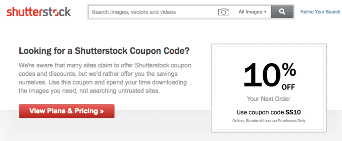 Shutterstock Coupon Page