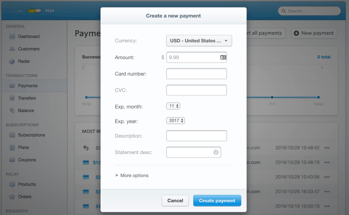 Create New Payment Modal