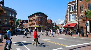 Harvard Square is home to many restaurants in Cambridge.