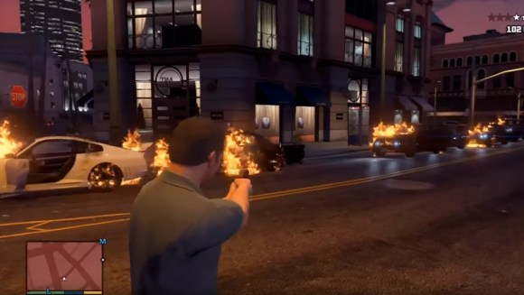 Flaming bullets in GTA V.