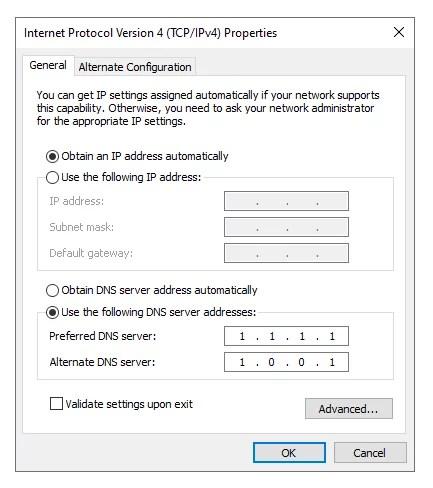 changing dns server windows 10