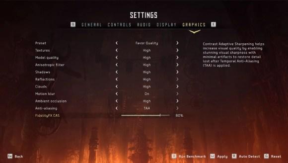 Horizon Zero Dawn settings screen