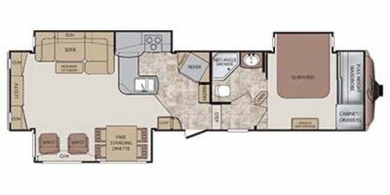 Find Specs for 2012 Keystone - Cougar <br>Floorplan: 327RES (Fifth Wheel)