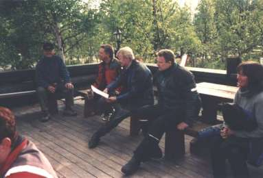 Samling vid receptionen innan avfärd till Peppes pizeria