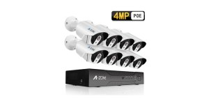 8 Channel A-ZONE Security Camera System 4MP IP PoE with 8 Outdoor Camera Kit