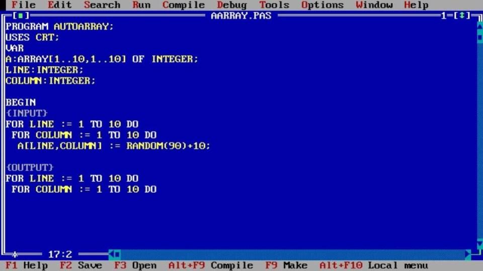 Okno edycyjne Turbo Pascal