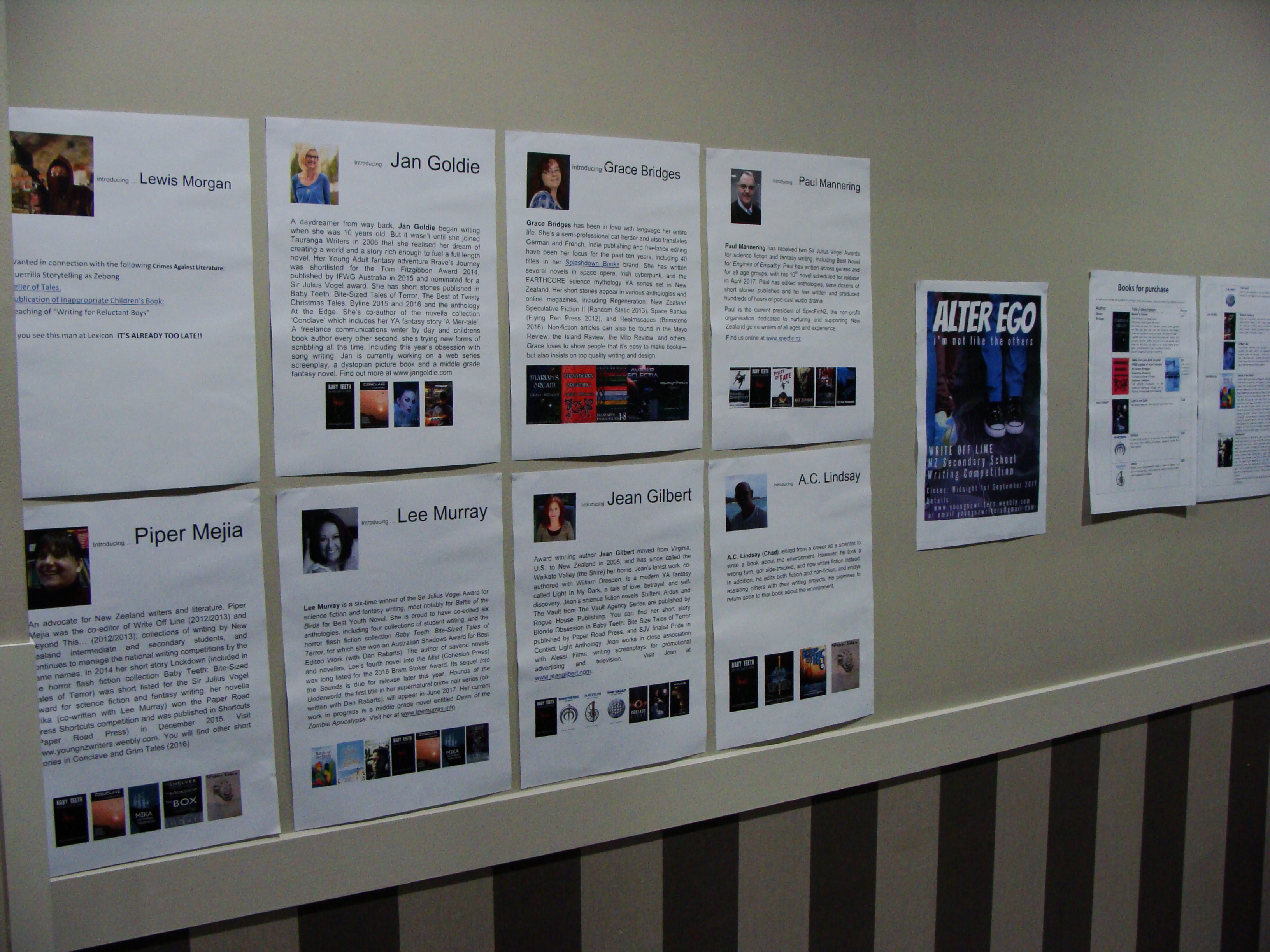 Feature wall at young writers' workshop