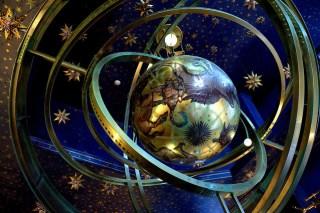 Globe suspended amidst rings and stars, Universal Studios, Orlando, Florida