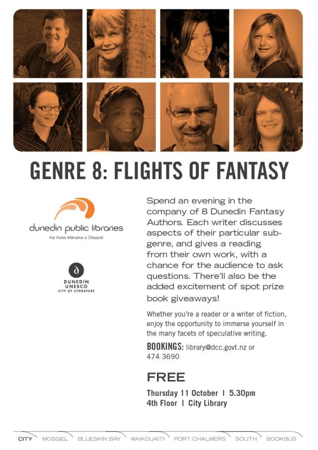 Dunedin Public Libraries poster for Genre-8 event