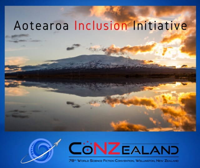 NZ scenery overlaid with text that reads: Aotearoa Inclusion Initiative