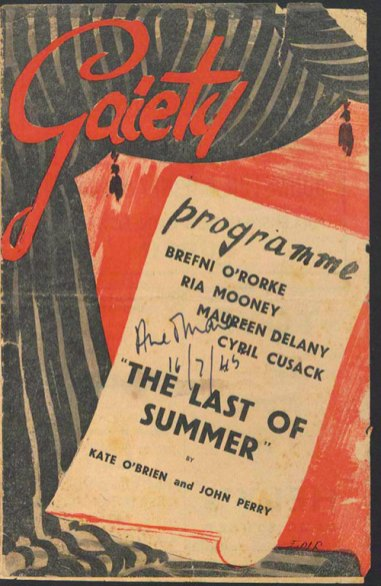 Programme for a performance of Kate O'Brien and John Perry's ''The Last of Summer'