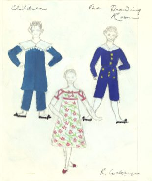 Costumes designed by Rosemarie Cockayne for children in the drawing room scene of The Nutcracker, 1982