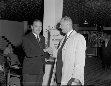 Lyndon B. Johnson Shaking Hands with Mayor of Limerick, Donogh O'Malley [P50/1/1/3578 (SDN_LF_3676)