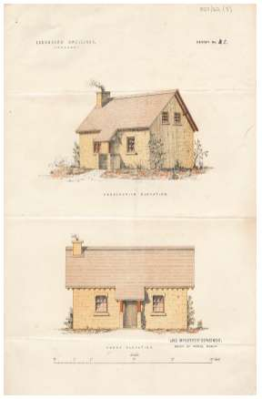 Coloured sketches of a labourer's dwelling, prepared by the Land Improvement Department of the Board of Works