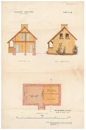 Coloured plans and sketch of a labourers' dwelling