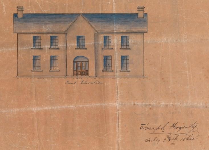 Hand-drawn sketch of Moyaliffe House by Joseph Fogarty