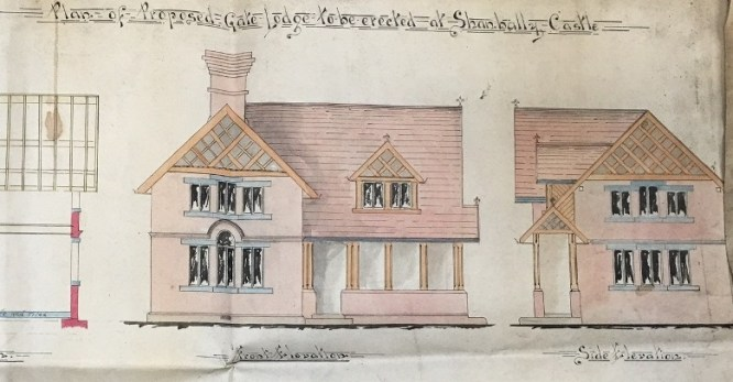coloured illustration of a sketch of the Prospect Gate Lodge at Shanbally Castle