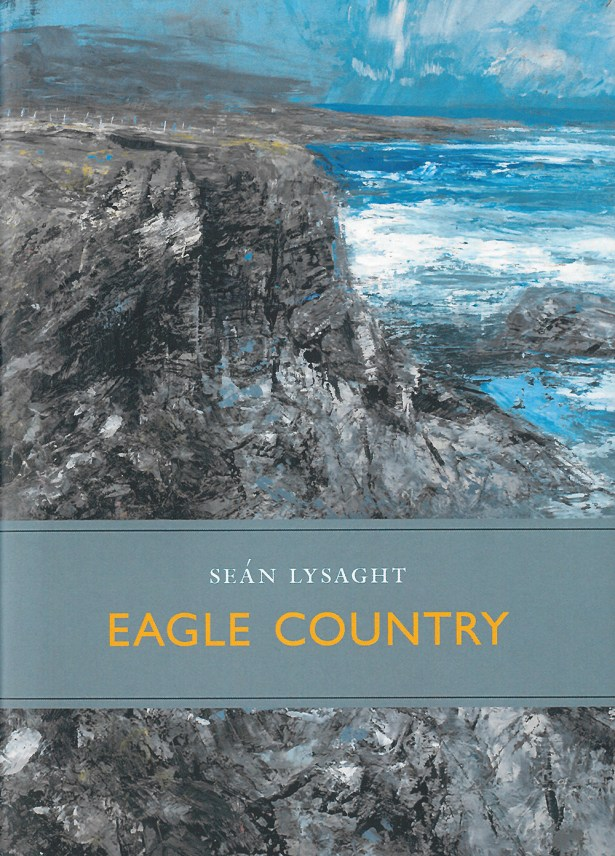 book cover for Séan Lysaght's book Eagle Country, featuring artwork of cliffs and sea