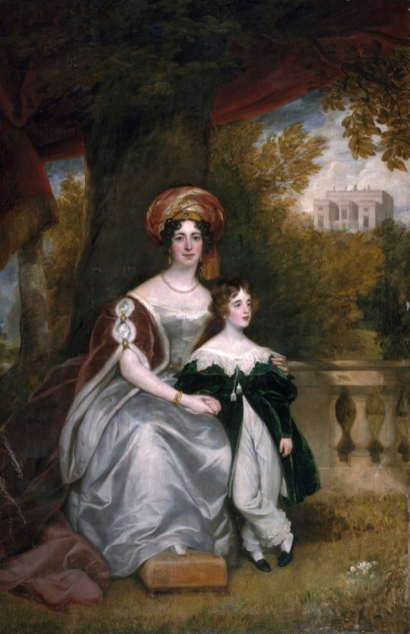 portrait of Caroline, Countess of Dunraven and her youngest son, sitting by a tree, by Thomas Phillipps