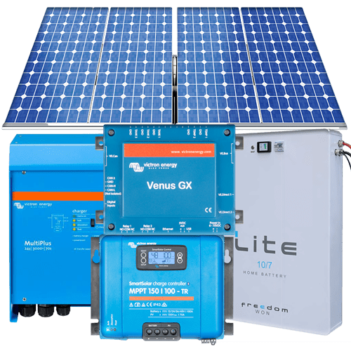10kVA 2.970kWp-27kWhr per day with LiFePO4 11kWhrs 70% DOD battery grid-interactive hybrid system