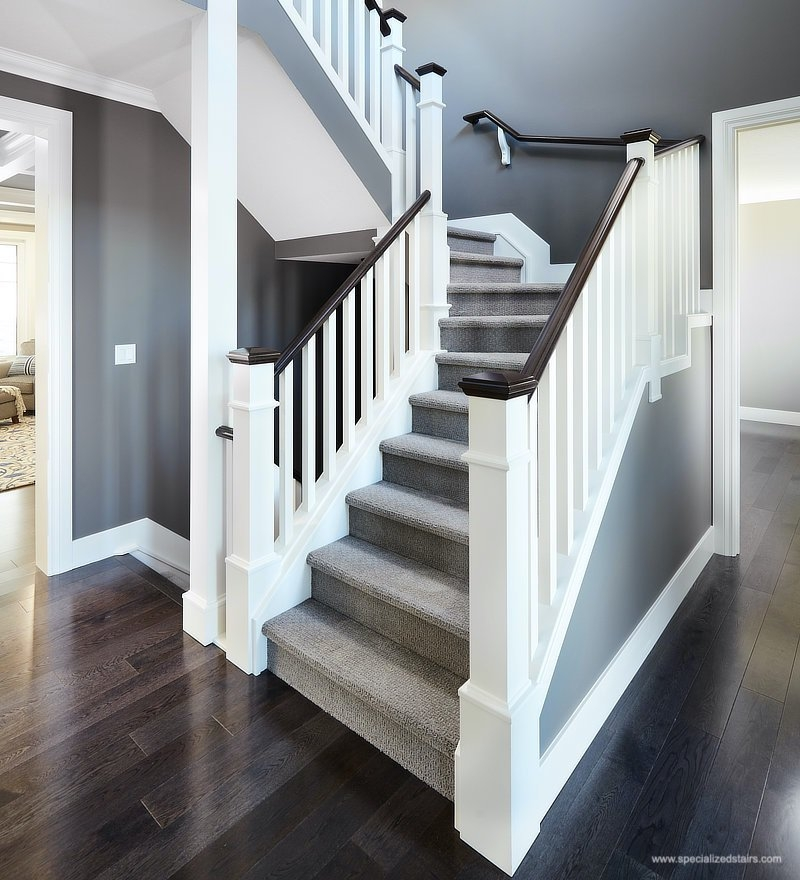 Custom Staircase Photos Specialized Stair Rail Edmonton Kelowna   White And Grey Banister   Newel Post   Narrow Awkward Staircase   Stair Railing   Entryway   Wall
