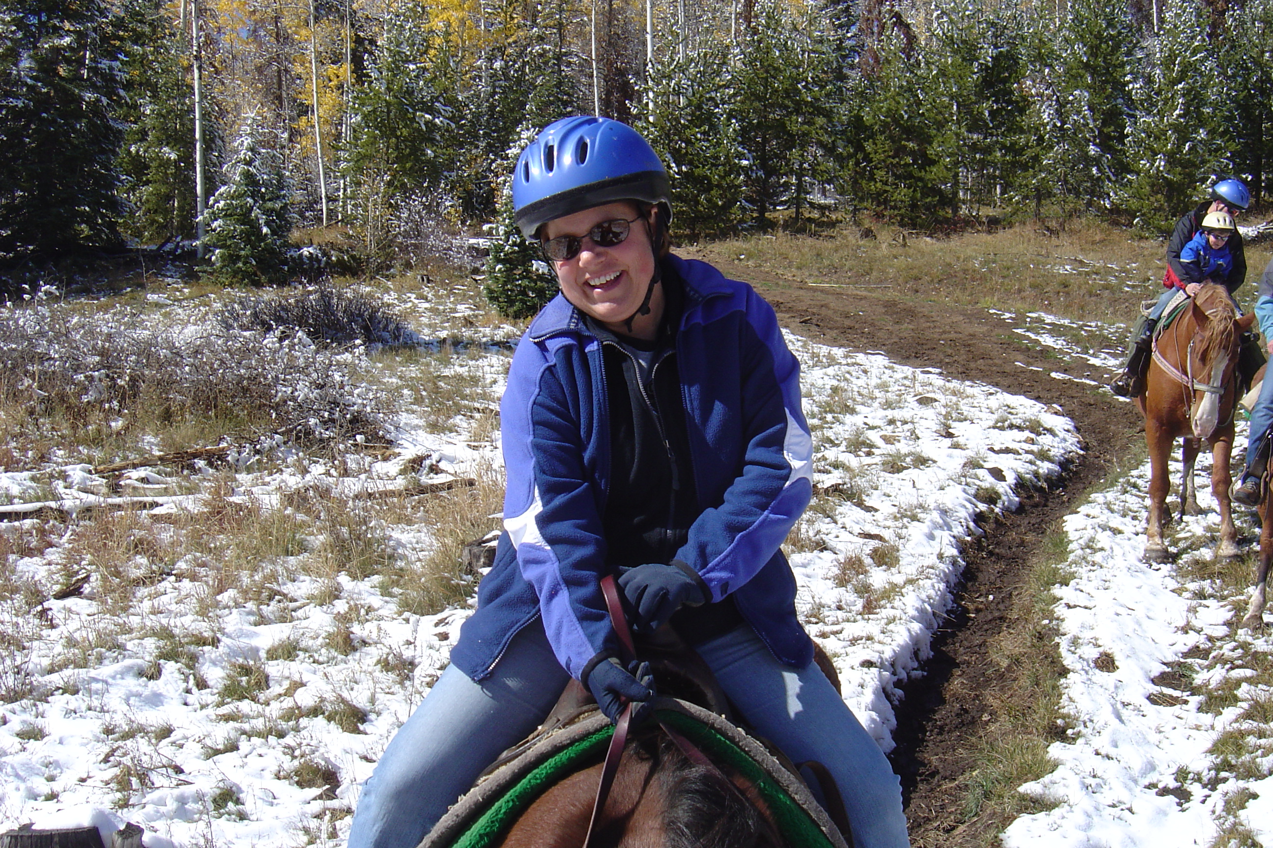 Beth's horse's name was either Mare or Mayor. She tripped once and Beth almost fell off--but she held on!!