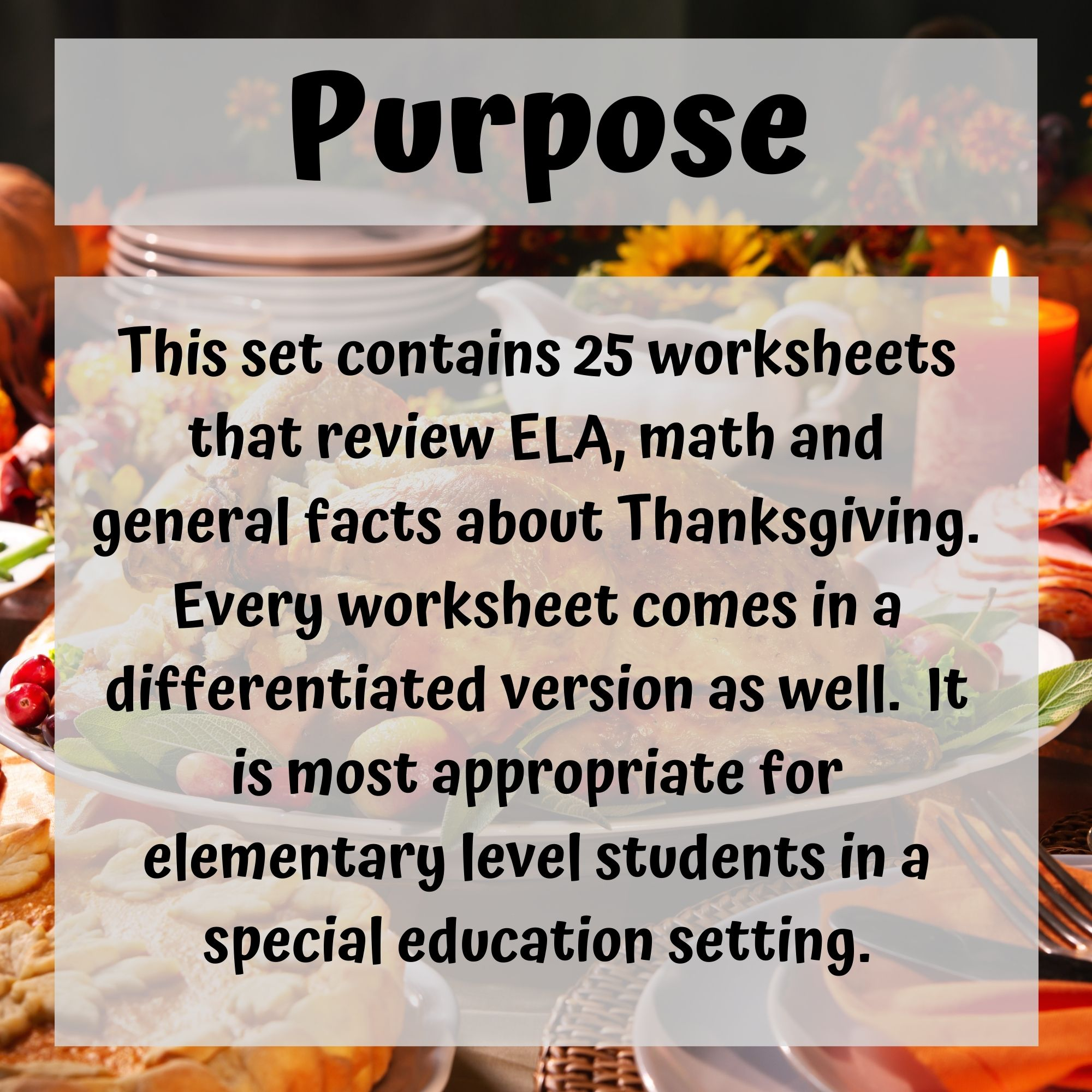Thanksgiving Digital Worksheets For Special Education