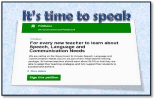 Teacher's Petition to include Speech and Language in teacher training