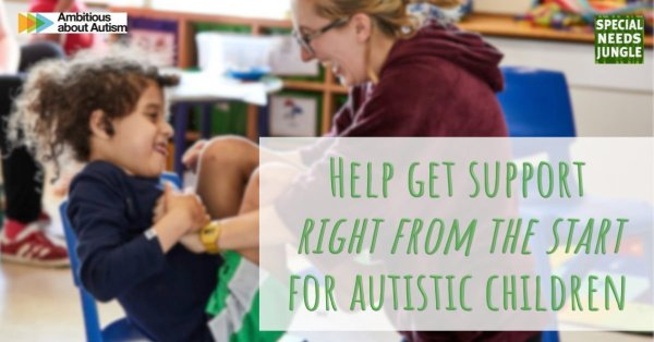 """Image of teacher with autistic child with words """"help get support right from the start for autistic children"""""""