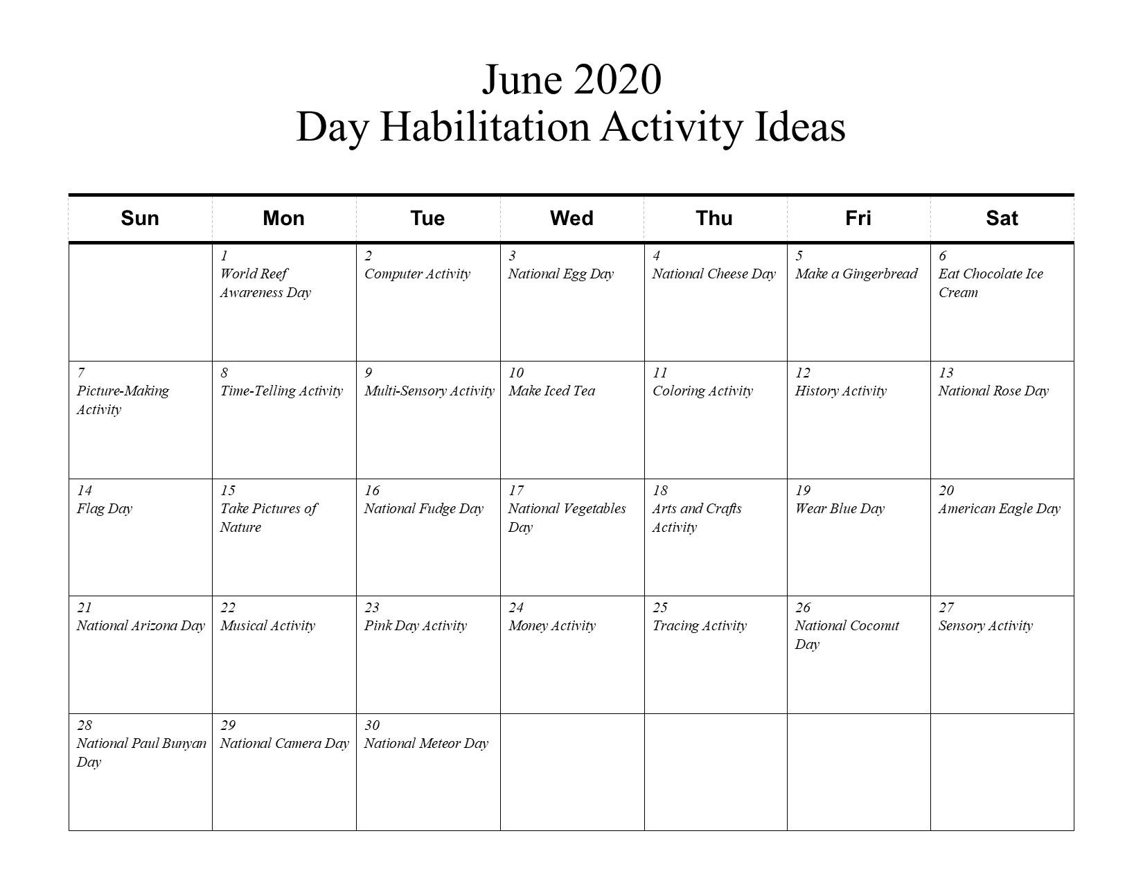 June Day Habilitation Activity Ideas