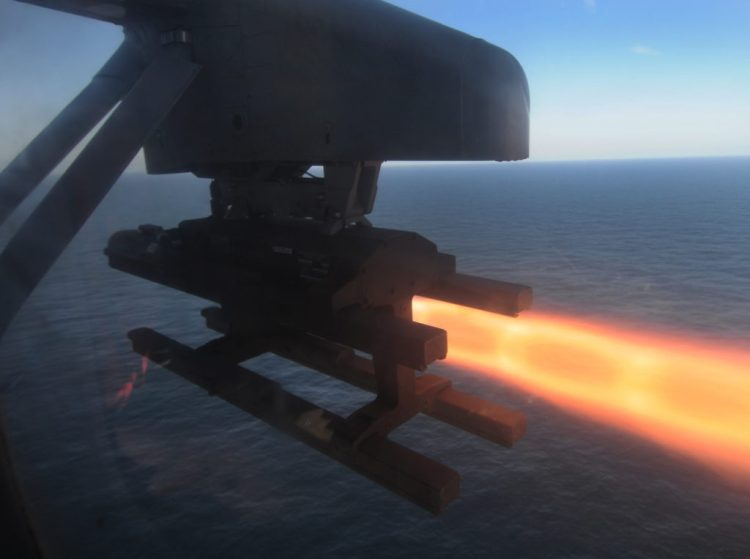 Missile launches from MH-60 Seahawk