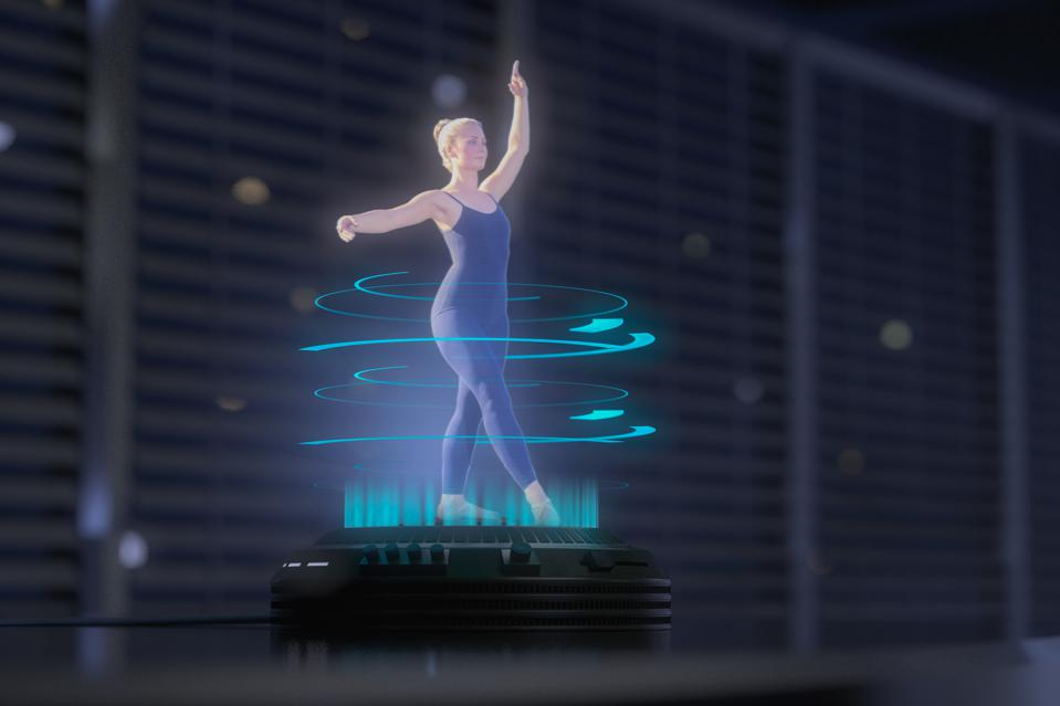 a hologram woman is dancing