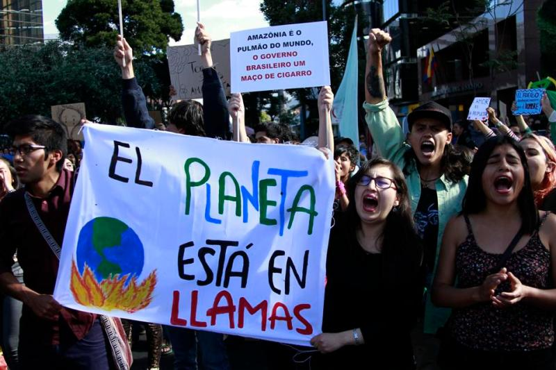 Amazon forest fires - protest in Ecuador