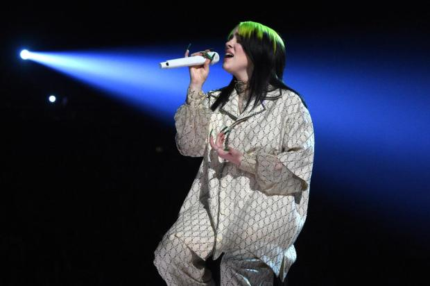 Image result for Billie Eilish at oscar 2020