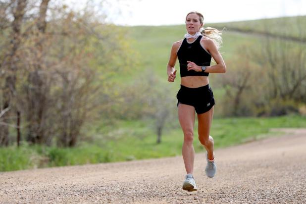 Olympian Emma Coburn trains at home during the coronavirus pandemic