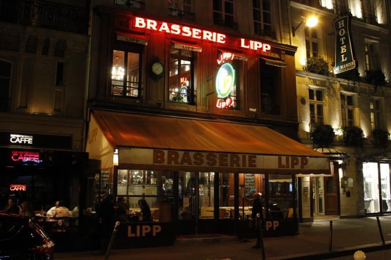 Brasserie Lipp in Saint-Germain-des-Pres Square, Paris.