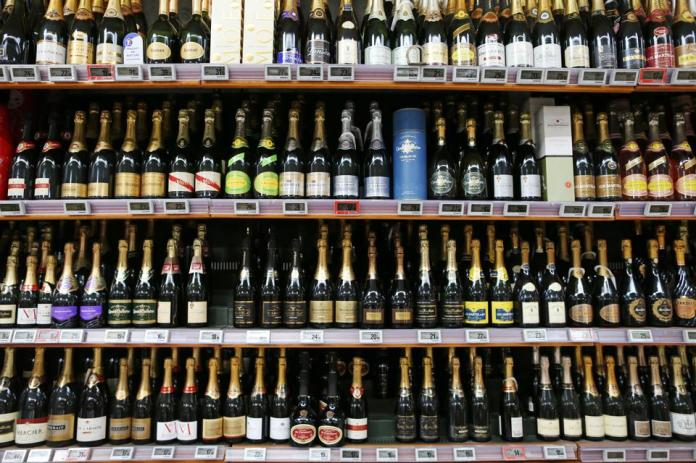 Bottles of wine and champagne for sale in a Coutances supermarket in north-western France.