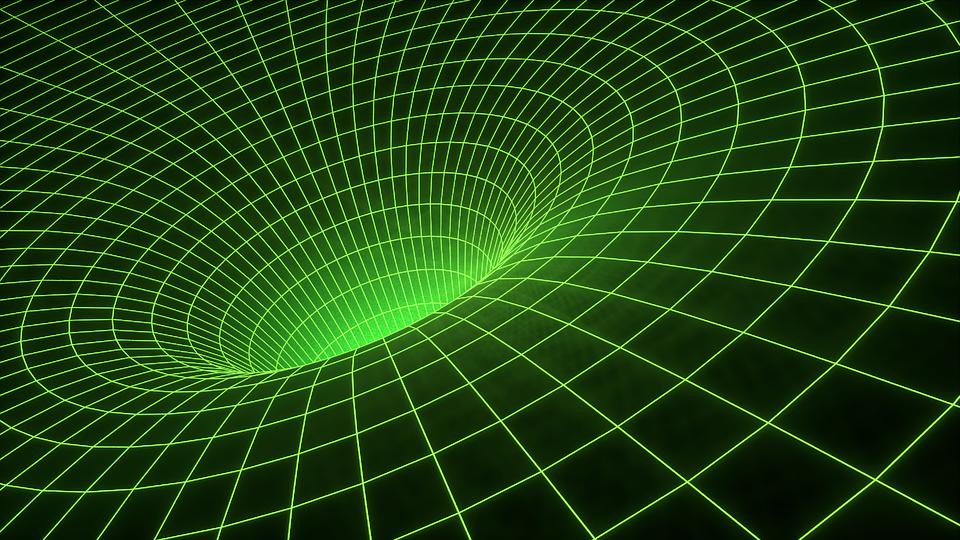 An illustration of heavily curved spacetime for a point mass.