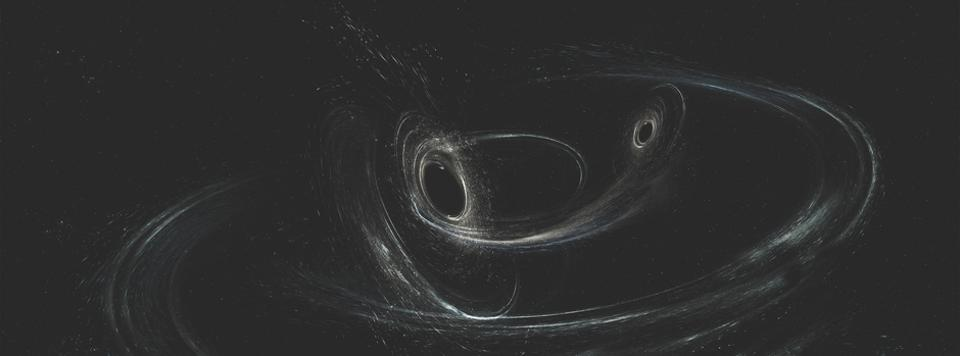 Illustration of two merging black holes with only small amounts of matter around them.