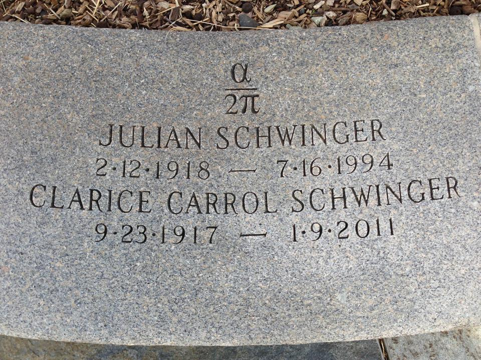 Headstone of Julian Seymour Schwinger at Mt Auburn Cemetery