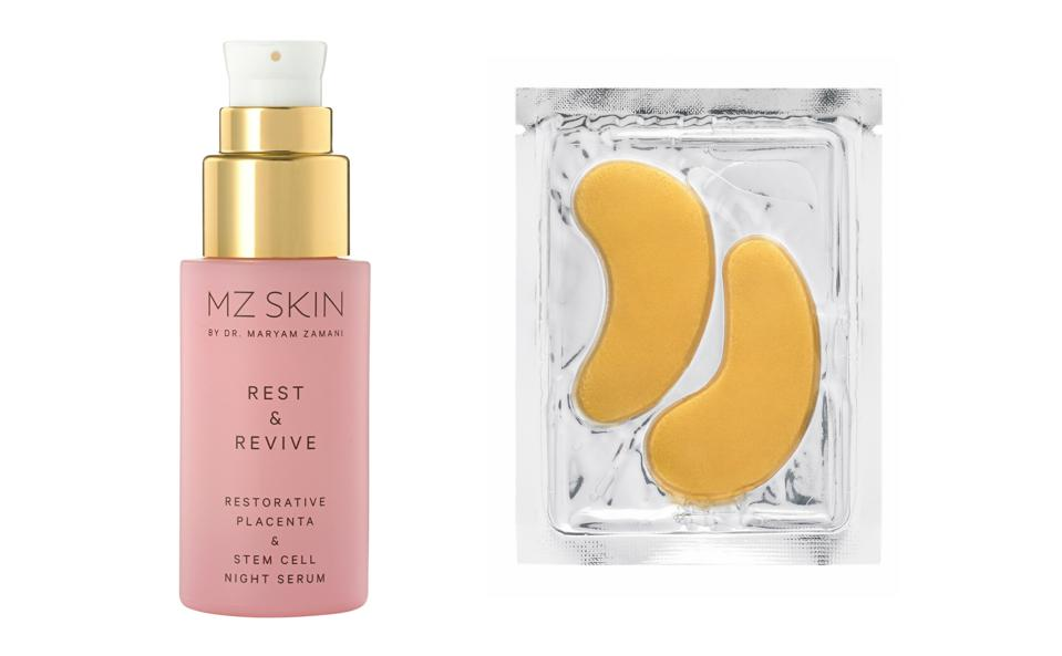 Golden Glows: Created by Dr. Maryam Zamani, this night serum and eye treatment mask retail for $418 and $106, respectively.