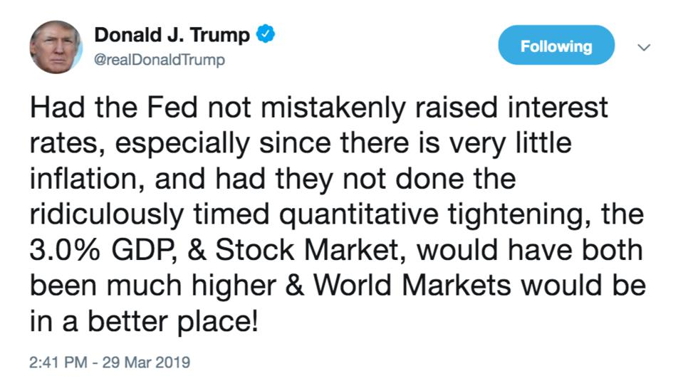 Trump's Twitter Account Will Explode If March Quarter's GDP Growth ...