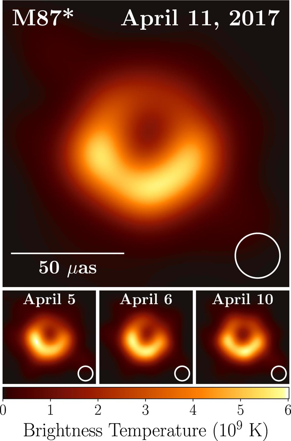 The Event Horizon Telescope's first released image of a black hole.