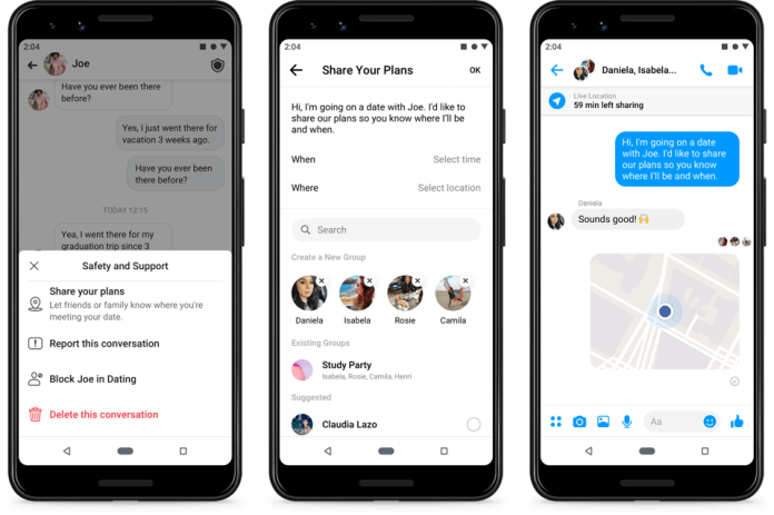 Facebook Dating lets you share your live location to keep friends and family aware of your well-being if you decide to meet with someone.